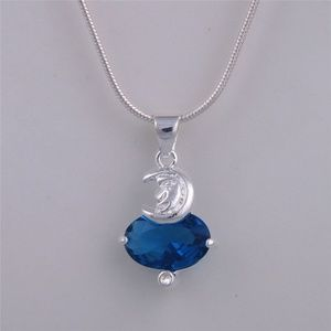 Jewelry - Lady Moon Pendant Silver Plate Blue Crystal 